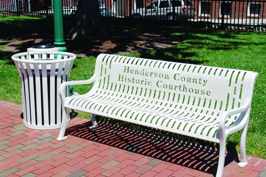 White Park Bench and Trash Recpticle